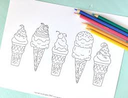 Printable ICE CREAM CONES Coloring Page Digital File Instant Sweets Treats Summer Treat Whipped Cream Cherry Toppings