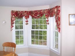 Checkered Flag Window Curtains by Tailored Swag And Jabots For A Bay Window Bay Window Ideas