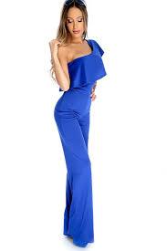 royal blue one shoulder sleeve overlay flared dressy jumpsuit