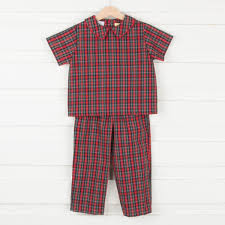 Christmas Eve Plaid Boys Colllared Pant Set Red And Green Smocked