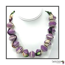 Sanyu Necklace Purple With African Fabric Tugende Design