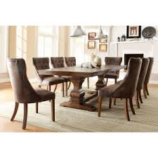 Weston Home Marie Louise 9 Piece Expandable Trestle Dining Table Set
