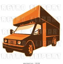 100 Moving Truck Clipart Vector Clip Art Of Retro Brown And Orange Toned Delivery Van Or