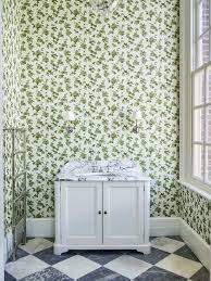 wallpaper by sanderson and marble checkerboard floors in