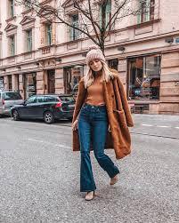 Coat Tumblr Brown Teddy Bear Top Sweater Denim Jeans Blue Flare Beanie