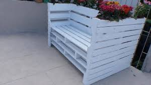 Pallet Bench With Flower Planter