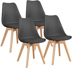 homall 4er set esszimmerstühle mit massivholz buche bein küchenstuhl polsterstuhl mit beinen aus massiv holz retro design gepolsterter schwarz