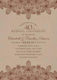 Kraft Paper 40th Wedding Anniversary Invitations