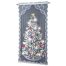 Brylane Home Lighted Curtains by Amazon Com Lighted Christmas Tree Curtain Panel Home U0026 Kitchen