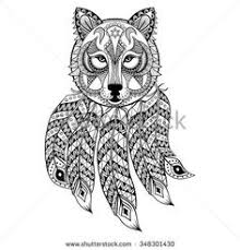 Vector Ornamental Wolf With Dreamcatcher Ethnic Zentangled Mascot Amulet Mask Of Werewolf Patterned Animal For Adult Coloring Pages