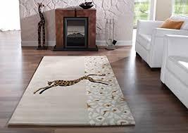 moderner designer teppich kalahari jaguar motiv hell beige