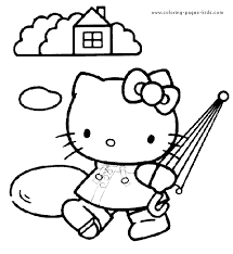 Hello Kitty Color Page Cartoon Characters Coloring Pages Plate Sheetprintable