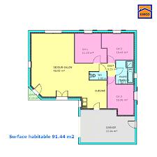 plan maison plain pied 3 chambre plan de maison individuelle plain pied