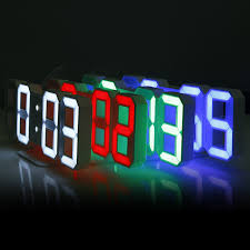 3D LED Digital Wall Clocks 24 12 Hours Display 3 Brightness Levels Dimmable Nightlight Snooze