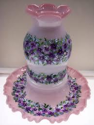 Vintage Fenton Fairy Lamps by Fenton Blue Burmese Fairy Lamp Light Bands Of Spring Violets