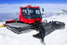 snow cat snowcat machine for snow removal preparation ski trails stock