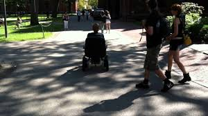 Driving a Motorized fice Chair in Harvard Yard