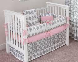 Pink elephant crib bedding