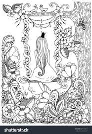 Princess Zentangle Riding On A Swing Garden Flowers Birds In Tree Adult Coloring PagesAdult Colouring