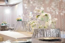 Wedding Decorators Reception Sequins Tablecloth Chandelier Centerpieces Winter Wonderland White And Silver Theme Orchids