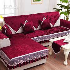 luxus wein rot gold fleece samt sofa abdeckung möbel hussen schnitts abdeckungen für wohnzimmer fundas de sofa sp4880