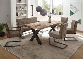 essgruppe 6 tlg mangoholz mit freischwinger stühlen und sitzbank taupe günstig möbel küchen büromöbel kaufen froschkönig24