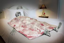 Bloody Death Bed Skeleton Halloween Prop