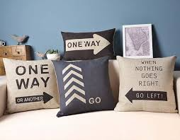 Road Sign Sofa Cushion Covers e Way Pillow Covers Linen Cotton