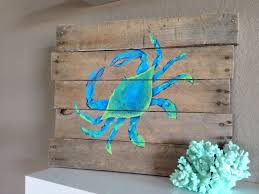 Blue CrabHand Painted Reclaimed Pallet Wood Beach Art By PelicanBayStudio On Etsy