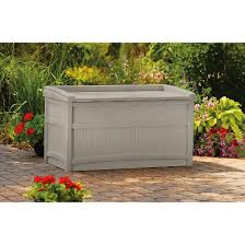 premium deck box with seat 50 gallon tan suncast target