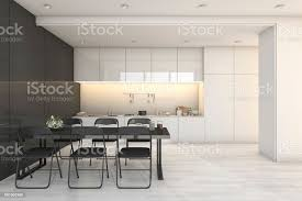 3d rendering weiße moderne küche und wohnzimmer mit essbereich zone stockfoto und mehr bilder architektur