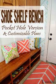 Shoe Shelf Bench With Pocket Holes - Her Tool Belt Fniture Entryway Bench With Storage Mudroom Surprising Pottery Barn Shoe And Shelf Coffee Table Win Style Hoomespiring Intrigue Holder Cushion Wood Baskets Small Wooden Unbelievable Diy Satisfying Entry From Just Benches Acadian
