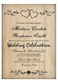 Rustic Country Vintage Double Hearts Wedding Invitations With A Faded Wood Background The Two Intertwined