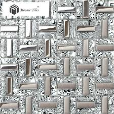 TST Glass Tiles Black Silver White Stripe Zebra Grain Bathroom Kitchen Home Wall Decor Natural Design