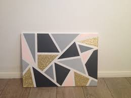 Triangle Painted Canvas Gold Light Grey Dark Whit And Soft Pink