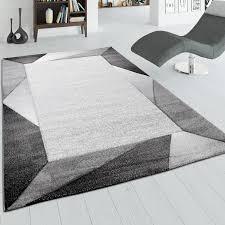 wohnzimmer teppich mit bordüre und 3 d effekt kurzflor teppich in grau beige