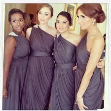 dark grey bridesmaids dresses 2016 one shoulder beaded pleats