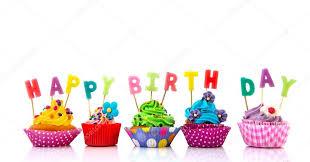 Colorful Happy birthday cupcakes — Stock