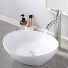 kes waschbecken aufsatzwaschbecken oval waschschale gäste wc keramik handwaschbecken badezimmer modern für waschtisch weiß 41 x 34 x 14 cm bvs124