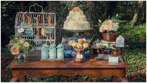 Mint Peach Dessert Table Cupcakes Wedding Rustic Garden