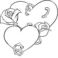 Picture Of Hearts And Roses Coloring Page