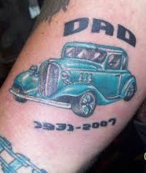 Blue Vintage Road Star Classic Car Memorial Tattoo