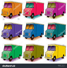 Set Nine Colorful Panel Trucks Stock Vector 116084755 - Shutterstock