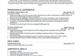 Construction Helper Resume