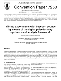 aes e library vibrato experiments with bassoon sounds by