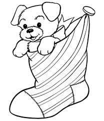 Puppy In The Stocking Free Coloring Pages For Christmas Within