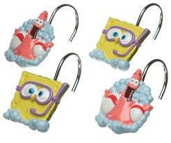 Spongebob Bathroom Decorations Ideas by Amazon Com Spongebob Squarepants Shower Curtain Hooks Home U0026 Kitchen