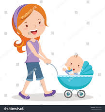 Mother Baby Stroller Young Mother Pushing Stock Vector