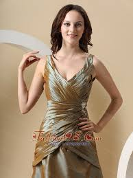 Olive Green V Neck And Ruched Bodice For Mother Of The Bride Dress