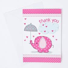 Pink Elephant Print Baby Shower Thank You Cards Pack Of 8